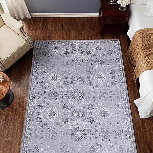 jinchan Vintage Area Rug Doormat Floral Floorcover Indoor Mat Kitchen Living Room Bedroom Grey 4 x 6 7