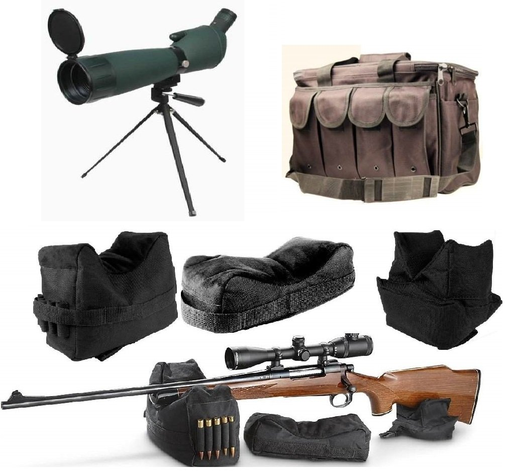 Ultimate Arms Gear 25-75x75 Green Rubber Armored Sniper Spotter Hunting Spotting Scope + 9'' Tripod + Sunshade + Lens Kit + 3 Piece Shooting Support Bag + Range Bag with Magazine Ammo Pouches by Ultimate Arms Gear