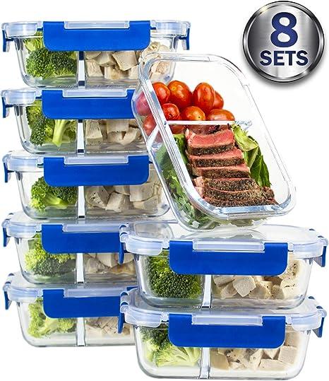 8 juegos de recipientes de comida, 2 compartimentos, de cristal ...