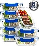 [8 juegos de recipientes de comida, 2 compartimentos, de cristal, con tapa, para preparación de comida, con tapas de LifeTime, contenedores de control de porciones, contenedores sin BPA