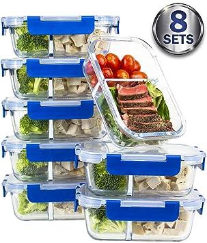 [8 juegos de recipientes de comida, 2 compartimentos, de cristal, con tapa