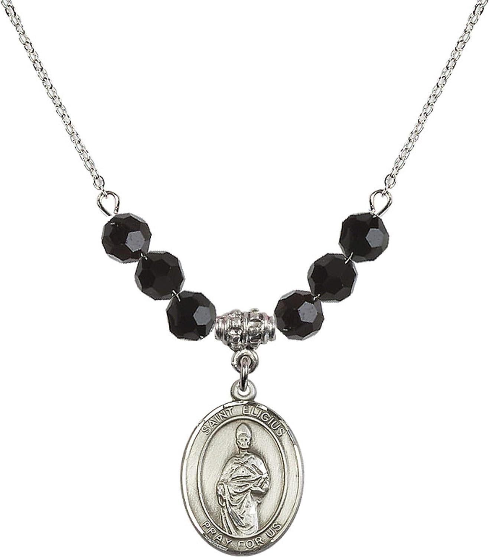 Bonyak Jewelry 18 Inch Rhodium Plated Necklace w// 6mm Jet Birth Month Stone Beads and Saint Eligius Charm