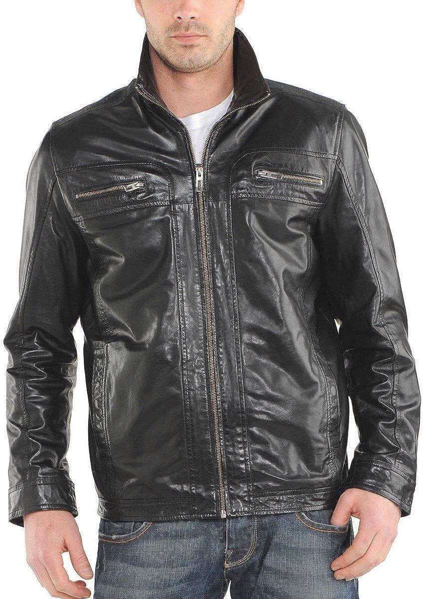 brandMe Mens Genuine Leather Pure Lambskin Biker Jacket MM239