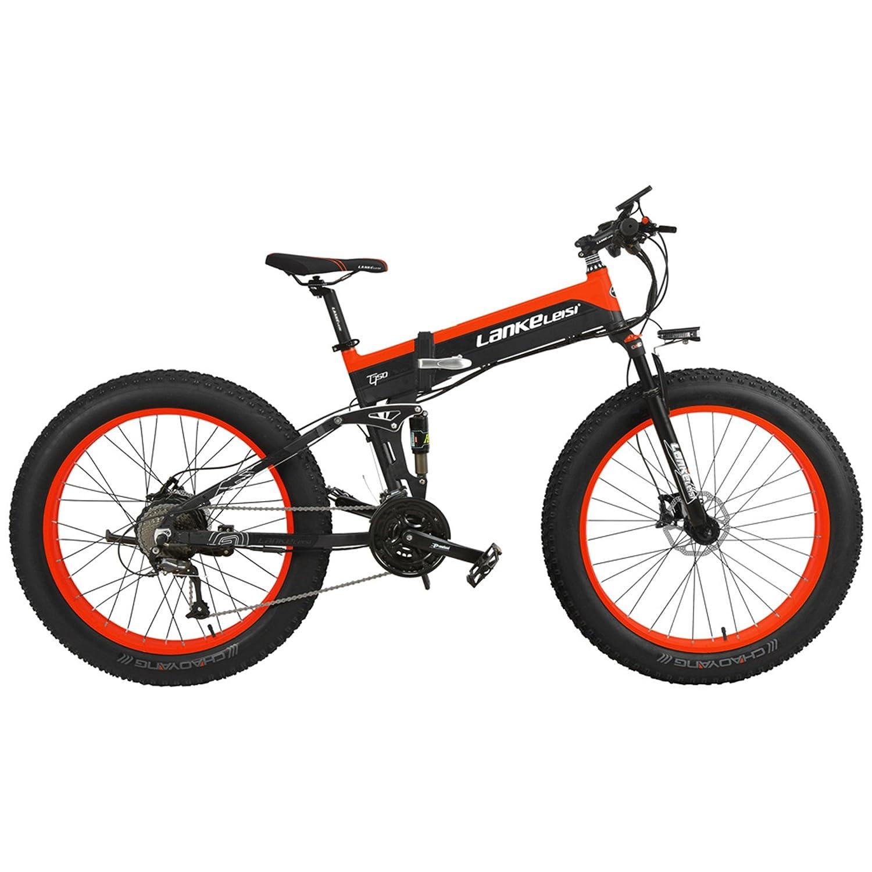 電動アシスト自転車スノーバイク、デュアル油圧ディスクブレーキ&サスペンション、大型リチウムイオンバッテリー (黒赤, 1000W、14.5Ahプラス1個の予備バッテリー)