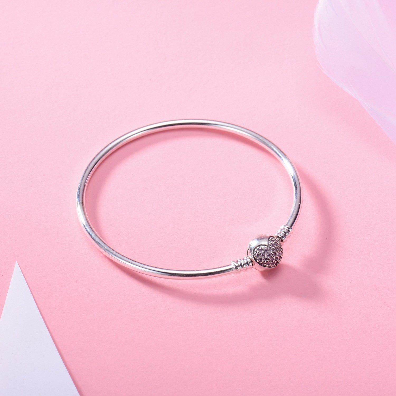 CRARINE Bangle Tennis Bracelet Swarovski Round Sterling Silver Cubic Zirconia for Women with CZ Crystals Rhodium Plating Jewellery y66l5FW