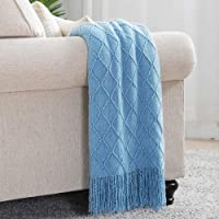 """Bourina Throws and Blankets for Sofa,50""""x60"""", Blue"""