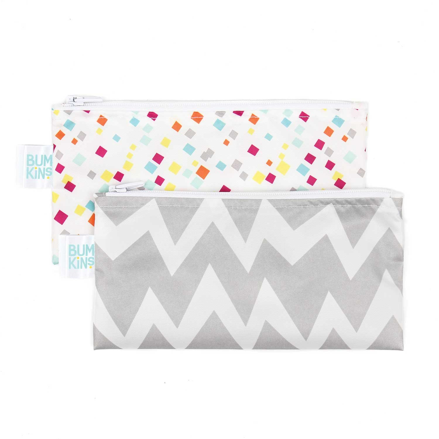 Bumkins Reusable Snack Bag Small 2 Pack, Gray Chevron/Confetti SBS2-G48