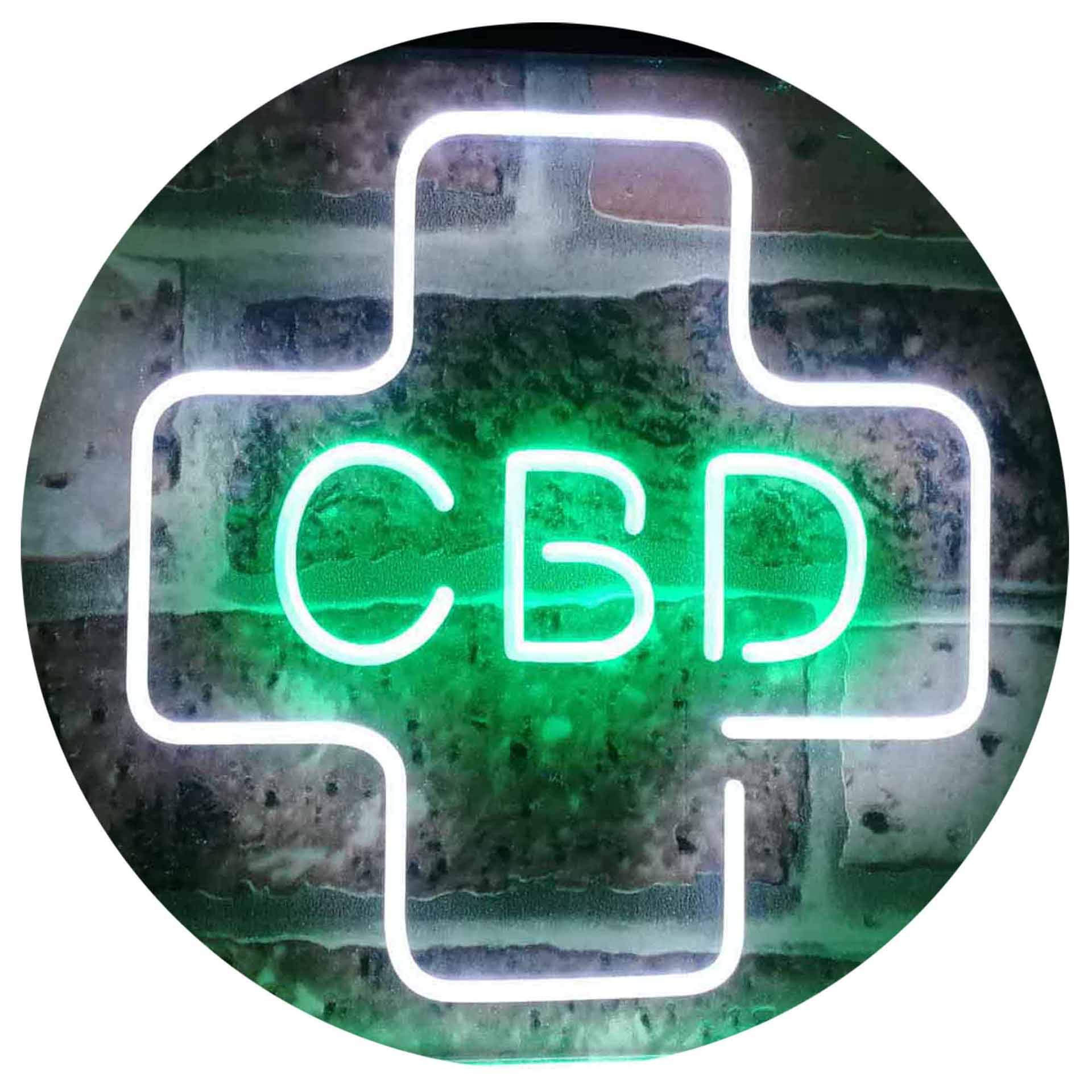 ADVPRO CBD Sold Here Medical Cross Indoor Dual Color LED Neon Sign White & Green 16'' x 12'' st6s43-i3083-wg
