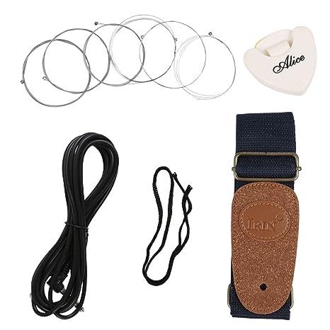 blueseason guitarra eléctrica accesorios kits con hombro Correa, Cable, púas, Acordes de Guitarra