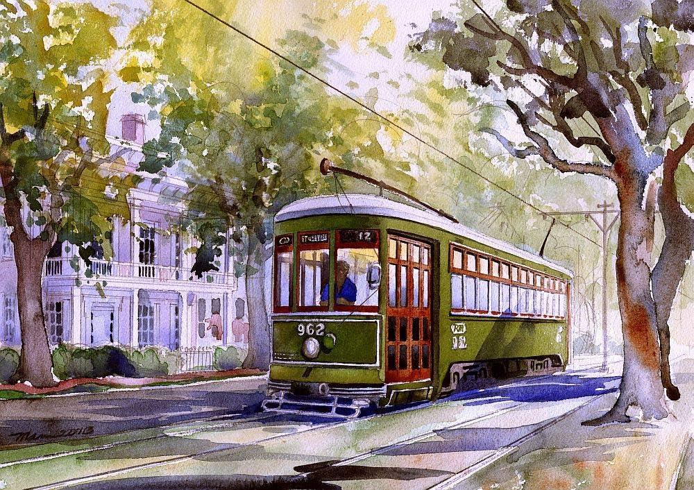 Bella Terra Romantic New Orleans: Garden District Streetcar Under Sun-Dappled Trees by Victorian House. James Mann Watercolor Landscape Art Prints (5x7 inches)