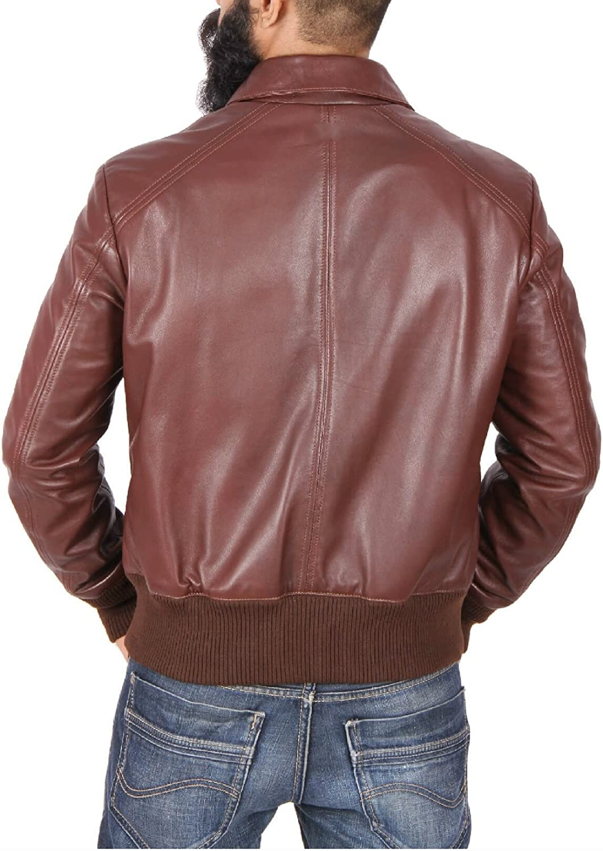 World of Leather WW2 Style Genuine Lambskin Leather Jacket Bomber Biker
