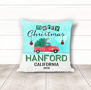 Christmas Pillow Covers 18 x 18 Inches Merry Christmas 2019 Hanford California CA Pillow Decorations for Xmas Autumn Pillow Covers Home Decor Design for Sofa Bedroom Car