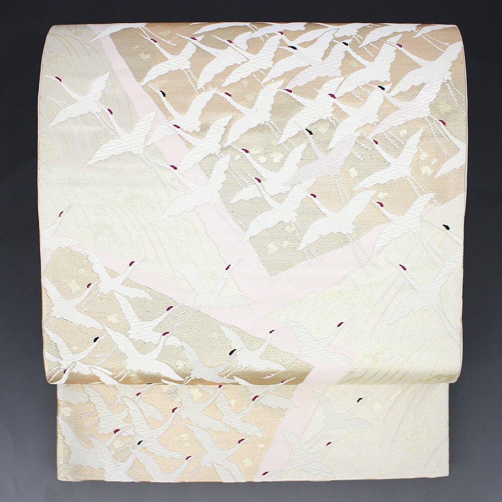 リメイク素材に最適! 袋帯 正絹 六通柄 白 色紙文 鶴 お祝い【送料無料】【中古】リユース   B07FLK6DNB