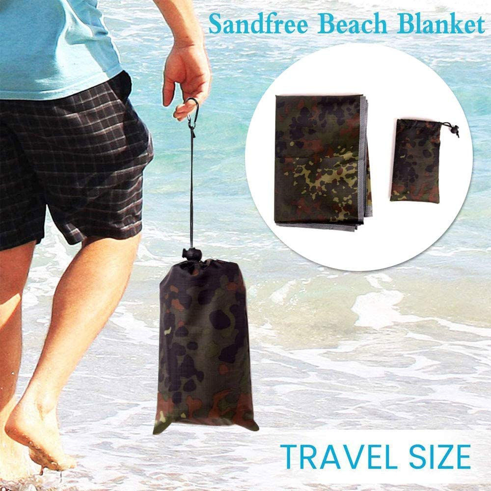 """Quick Drying Nylon,Camo Outdoor Picnic Waterproof Blanket 60/""""X 39 Compact Lightweight Foldable Sand Proof Pocket Mat for Beach//Hiking//Travel//Camping//Festival//Sporting Events with Bag Loops Stakes"""