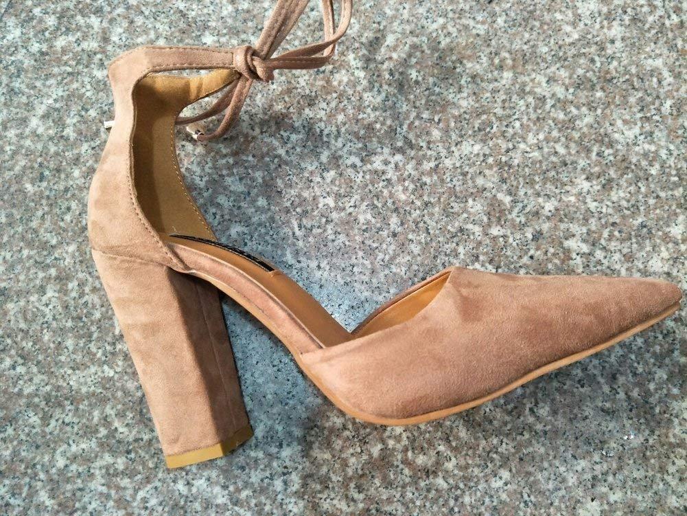 Oudan Mode und Größe Grobe Fersen mit Riemen Sandalen Schuhe (Farbe   Nackt Größe   35)