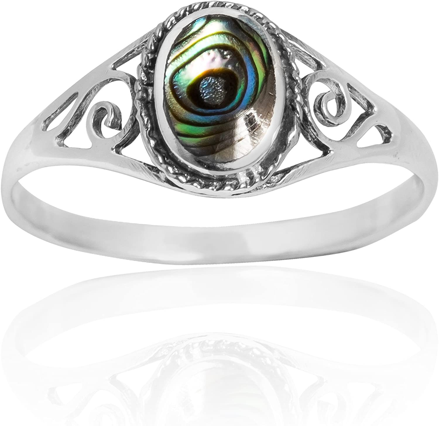 Mens Vintage Victorian Ring Solid 925 Sterling Silver Natural Abalone All Sizes