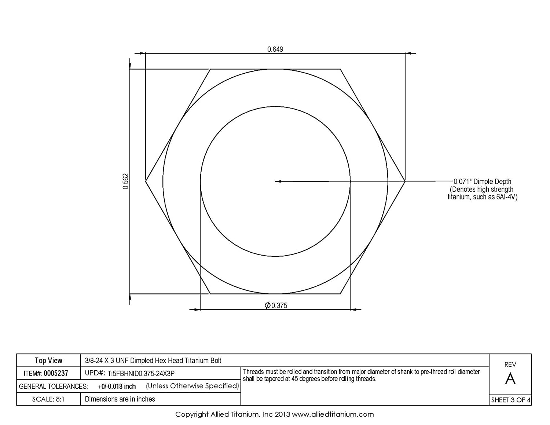 Amazon com: Allied Titanium 0005237, (Pack of 3) 3/8-24 X 3 UNF