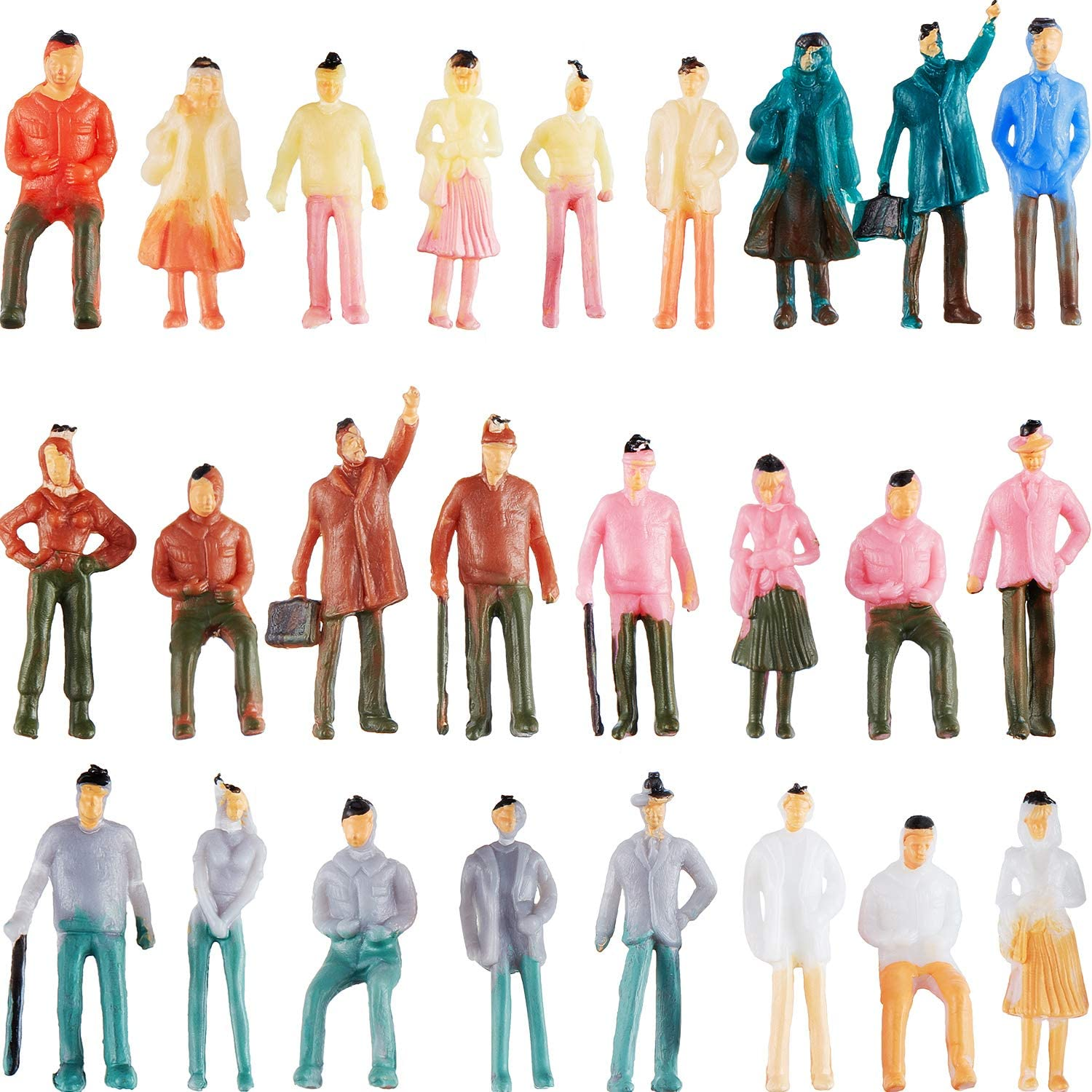 100 Pieces People Figurines 1:75 Scale Model Trains Architectural Plastic People Figures Tiny People Sitting und Standing für Miniature Scenes
