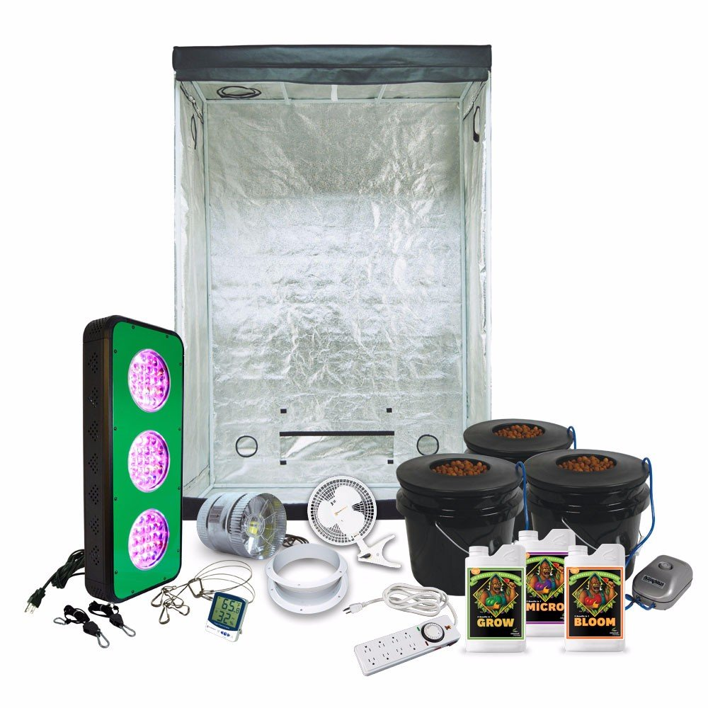 "LED Grow Light Amazon Special Grow Pack by HTG - 2 x 4 (29""x53""x79"") Grow Tent Package With LED + DWC Hydroponic System & Advanced Nutrients"