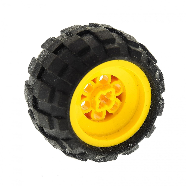 1x Lego Technic Rad 43.2 x 28 S Ballon Reifen Felge gelb Achs Loch 6579 6580ac01