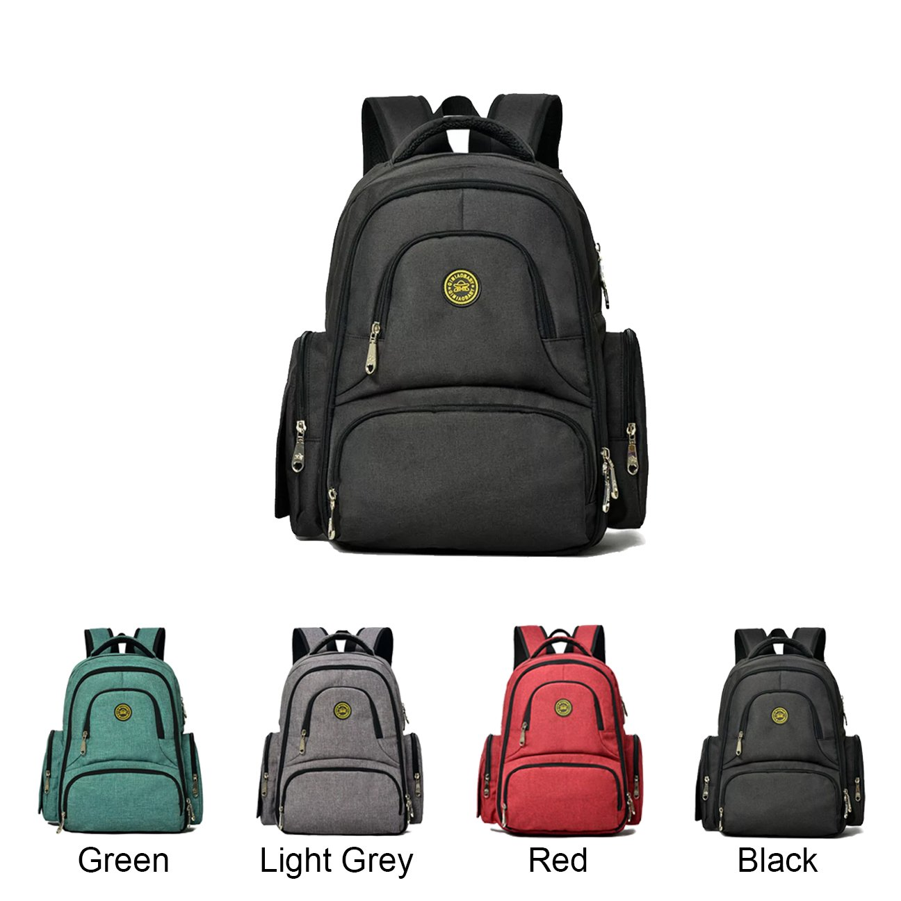 high-quality Queenie - Baby Waterproof Polyester Cotton Diaper Backpack Multi- function Travel Backpack Nappy Bag Travel Organizer For Men & Women (QM1490-1 Black)