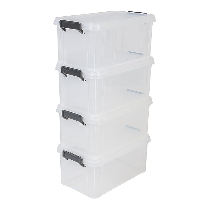 IRIS, 4er-Set Aufbewahrungsboxen / Kisten mit Deckel / Stapelboxen