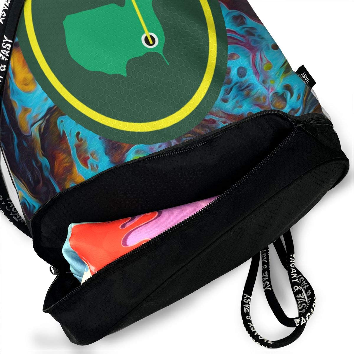 Drawstring Bag Green Jacket Patch Gym Bag Sport Backpack Shoulder Bags Travel College Rucksack