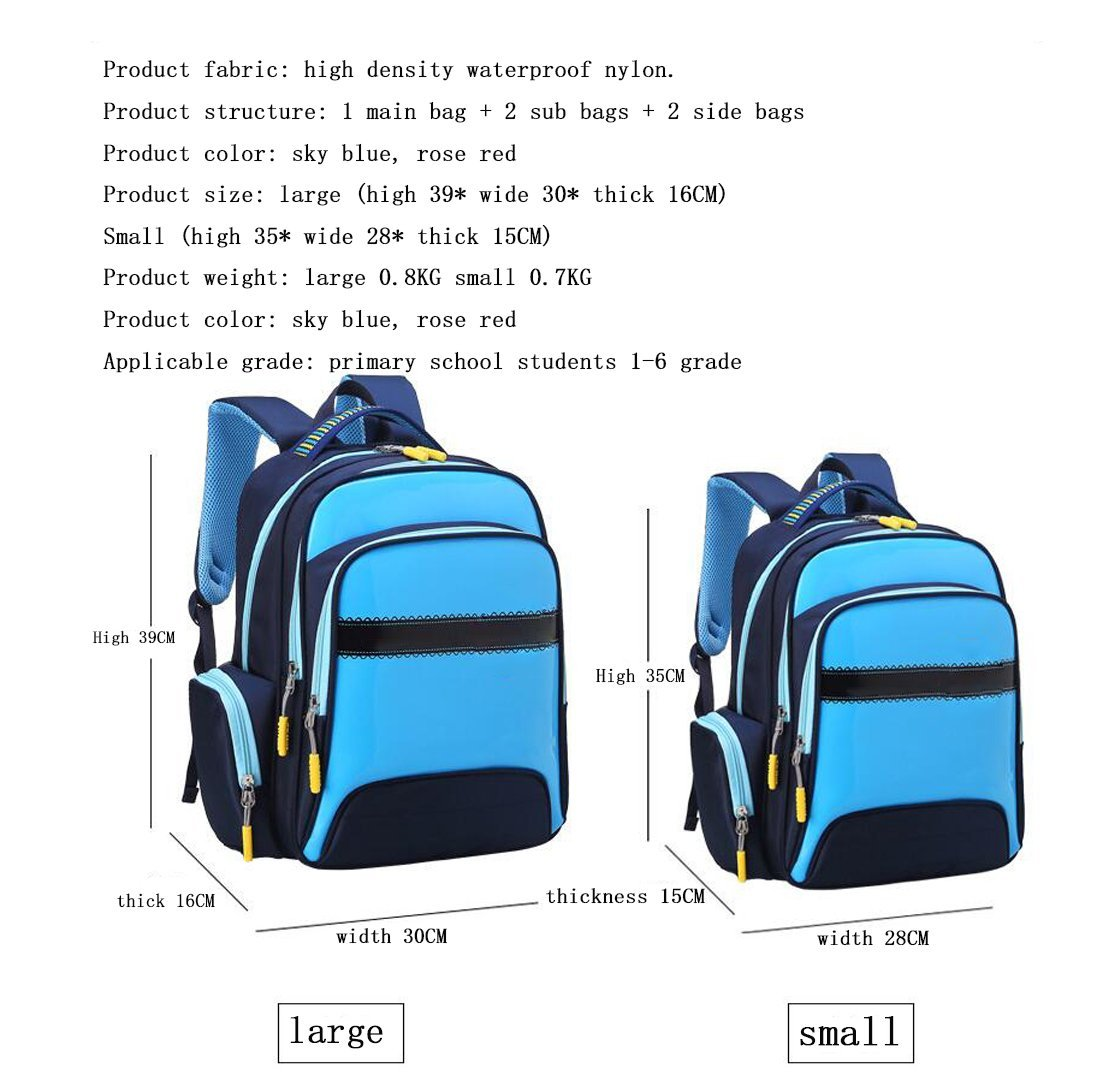 79934f3a2b Amazon.com  MUZI New School Bag Primary School Students 6-12 Years Old  Waterproof Burden Reduction Children s School Bag 1-3-6 Grade Boys and  Girls Shoulder ...