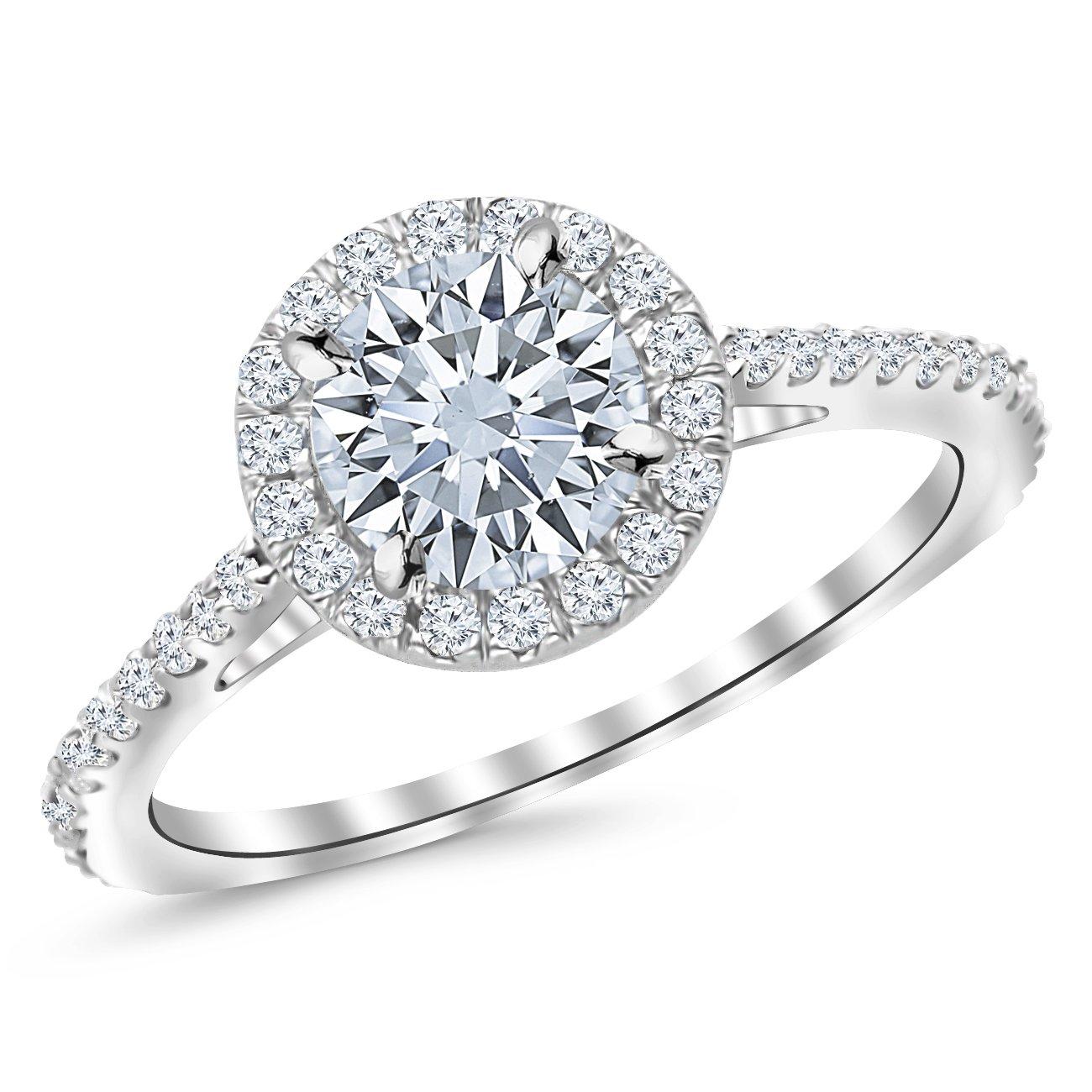 0.85 Carat Classic Halo Diamond Engagement Ring 14K White Gold with a 0.45 Carat I-J I1 Round Brilliant Cut/Shape