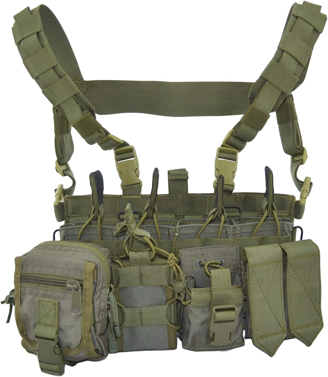 This is an image of the SPOSN Tactical Molle Chest Rig in olive color, with shoulder straps with snap-buckle connected to it, multiple molle pouches.