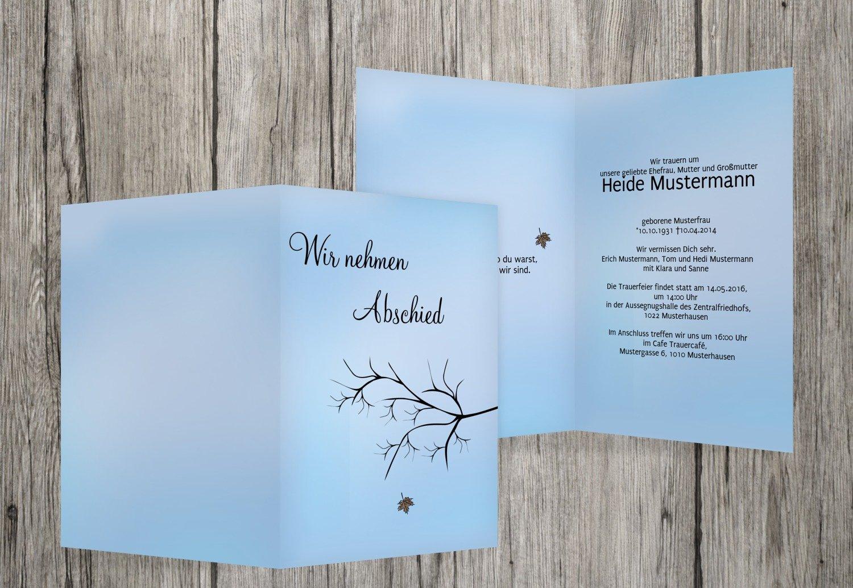 Tarjeta de luto hojas, hellesPastellGrauBlau, 60 Karten