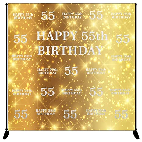 Mehofoto Happy 55th Birthday Backdrop Gold Silver Step And Repeat Photography Background 8x8ft Vinyl