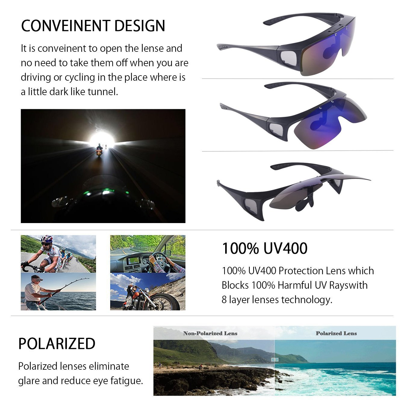 c43ffa15819 Amazon.com  TINHAO Mens Polarized Flip Up Fitover Sunglasses with Mirrored  Lenses  Sports   Outdoors