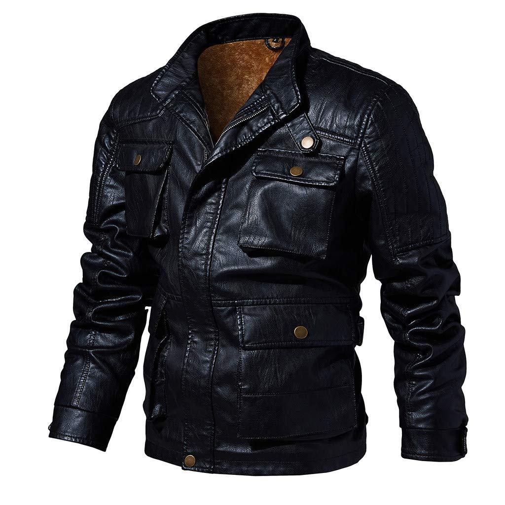 JJHAEVDY Men's Casual Zip Up Slim Bomber Faux Leather Jacket Vintage Winter Motorcyle Biker Coat Stylish Autumn Outwear by JJHAEVDY