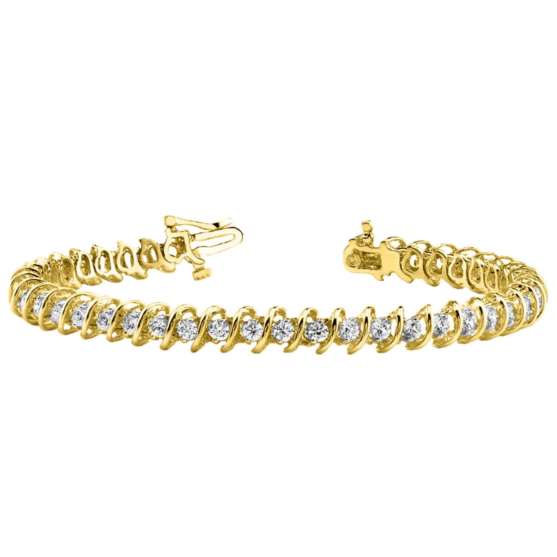 5 Carat S Link Diamond Tennis Bracelet 14K Yellow Gold Value Collection