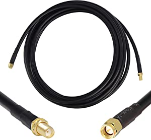 15 ft Low-Loss Coaxial Extension Cable (50 Ohm) SMA Male to SMA Female Connector, GEMEK Pure Copper Coax Cables - Antenna Lead Extender for 3G/4G/5G/LTE/ADS-B/Ham/GPS/WiFi/RF Radio Use (Not for TV)