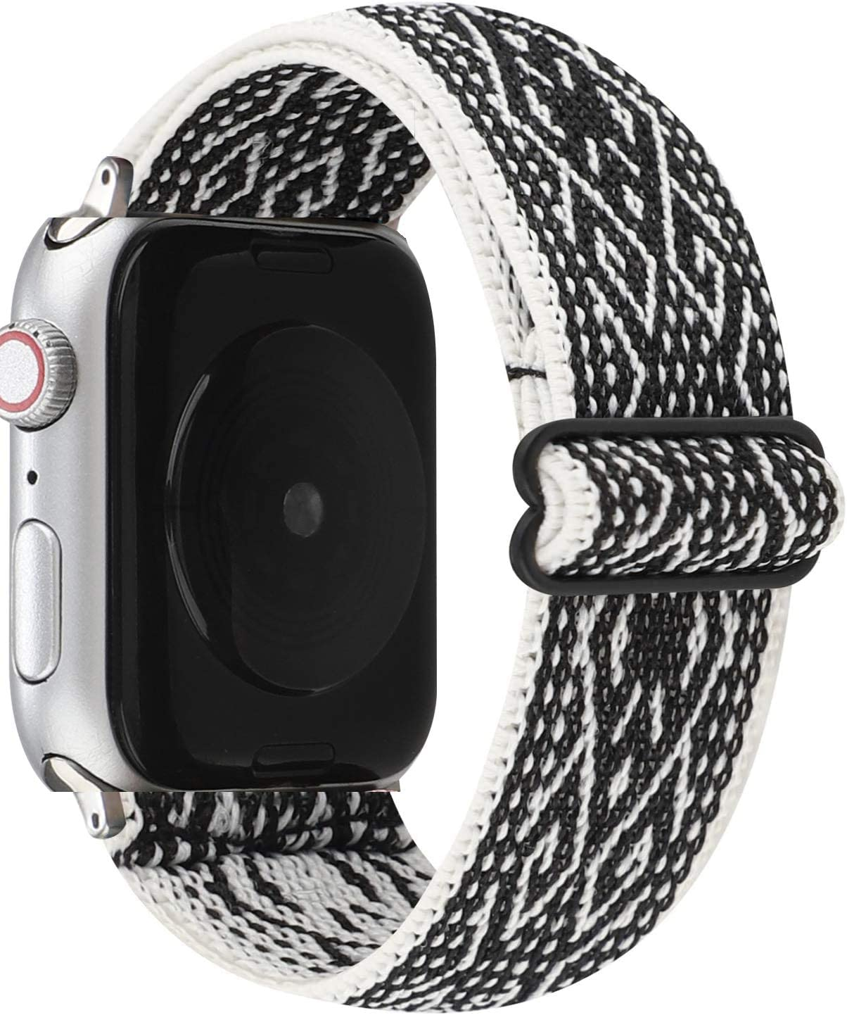 JimBird Adjustable Elastic Stretchy Sport Loop Compatible for Apple Watch Band 38mm/40mm, Soft Stretch Women Strap Replacement for Series 6/SE/5/4/3/2/1 (Black-White, 38/40 mm)