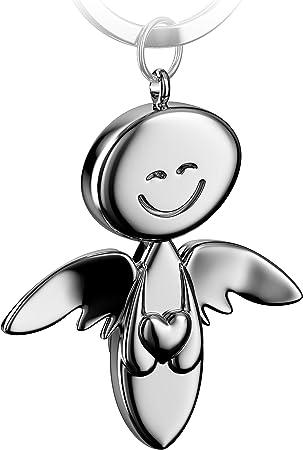 Fabach Schutzengel Schlüsselanhänger Smile Mit Herz Edler Engel Anhänger Aus Metall In Glänzendem Silber Geschenk Glücksbringer Auto Führerschein Fahr Vorsichtig Koffer Rucksäcke Taschen