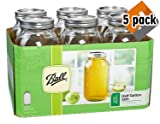Ball Wide Mouth Half Gallon 64 Oz Jars with Lids and Bands, Set of 6 (5 Pack)