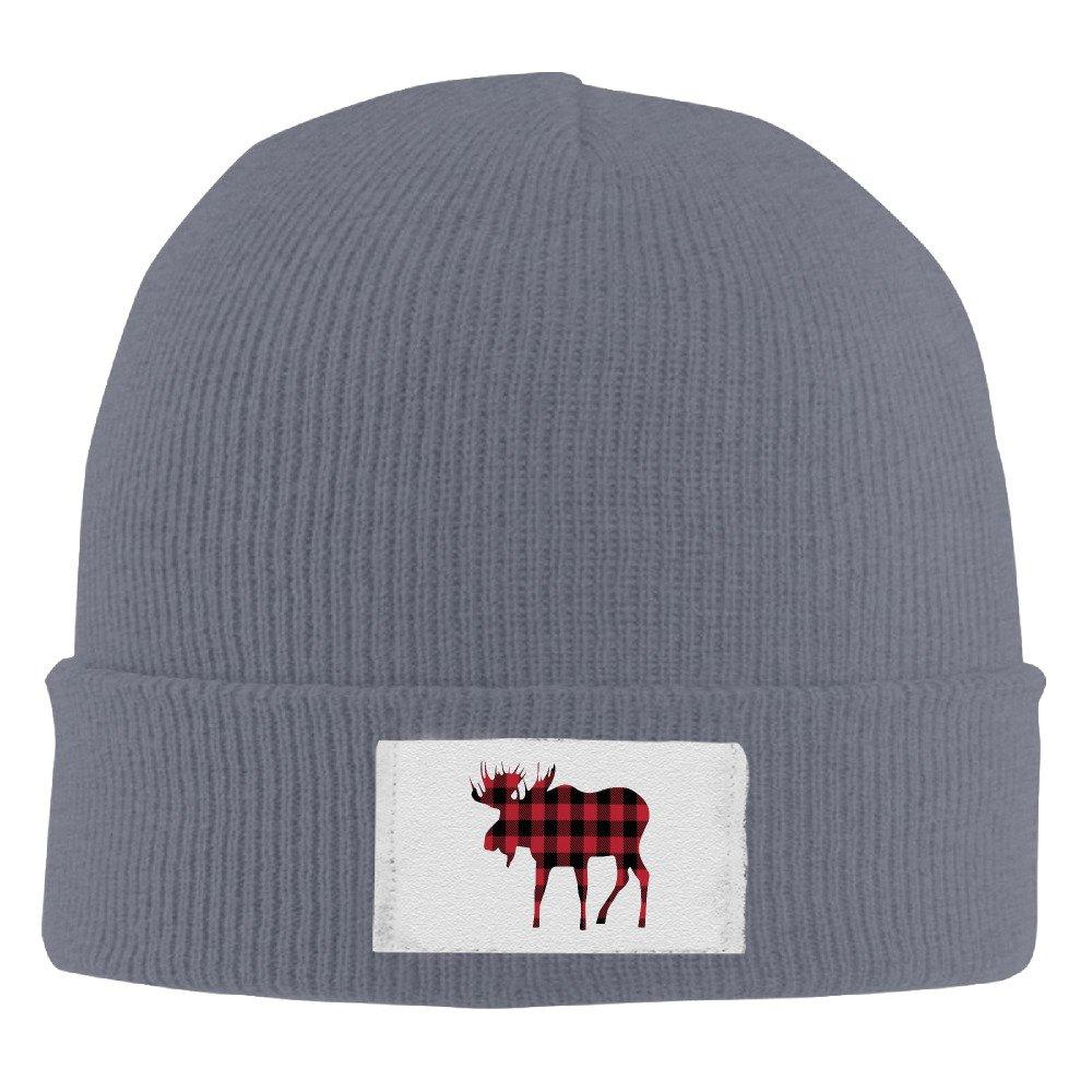 Baby Love Buffalo Plaid Moose Lumberjack Red Black Man's Slouchy Beanie Knit Cap B01MD2BMV5