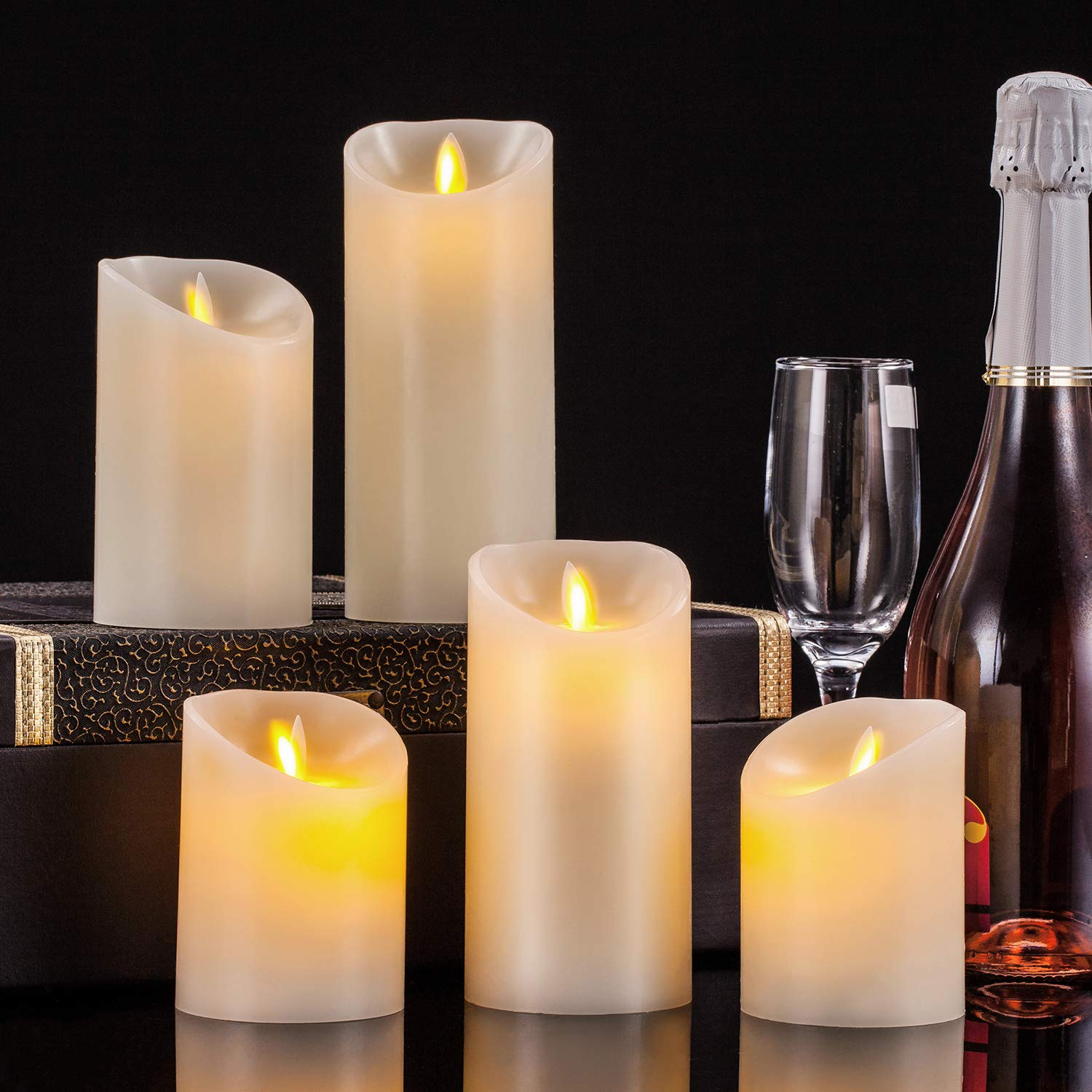 Pandaing Flameless Candles Set of 5 (D 3'' x H 4'' 4'' 5'' 6'' 7'') Battery Operated LED Pillar Real Wax Moving Flame Flickering Electric Candle Gift Set with Remote Control Cycling 24 Hours Timer by Pandaing (Image #4)