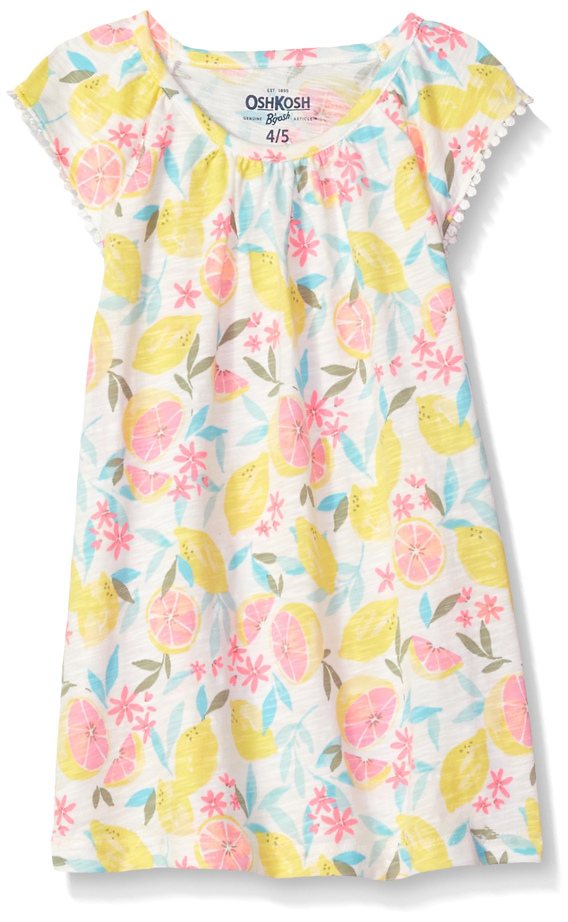 Osh Kosh Girls' Kids Fashion Tops, Lemon Flowers, 6-6X