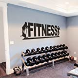 Fitness Wall Vinyl Decal Fitness Wall Vinyl Sticker Sports Decals Fitness Club Gym Design Decor Sports Room Decor (XLarge,Black)