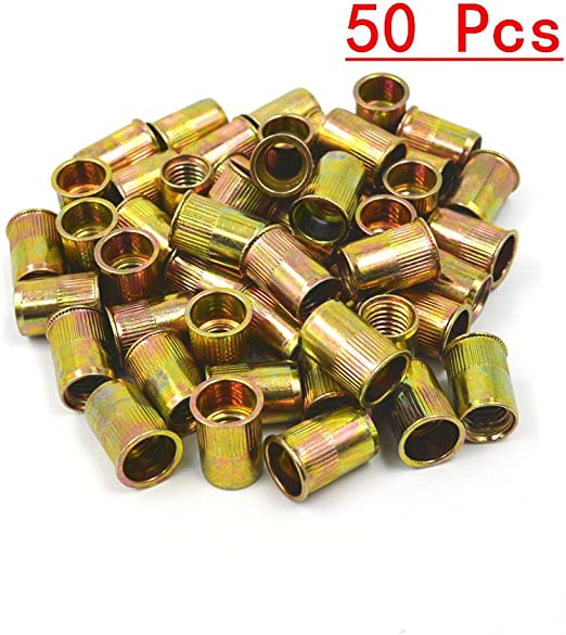 Forty SNG199 M10 Rivet Nuts Zinc Plated Carbon Steel Flat Head Threaded Metric Inserts 40 SNUG Fasteners