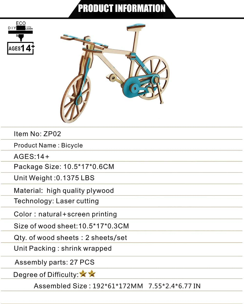 Szeao Puzzle Rompecabezas De Madera 3D Manualidades De Bicicleta ...
