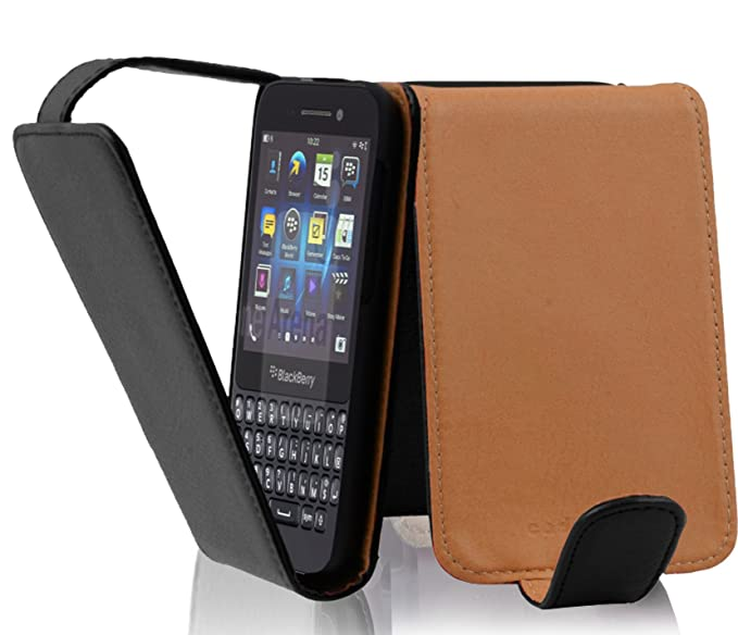 size 40 daade 9687d Cadorabo Case Works with BlackBerry Q5 in Oxide Black – Flip Style Case  Made of Structured Faux Leather – Wallet Etui Cover Pouch PU Leather Flip