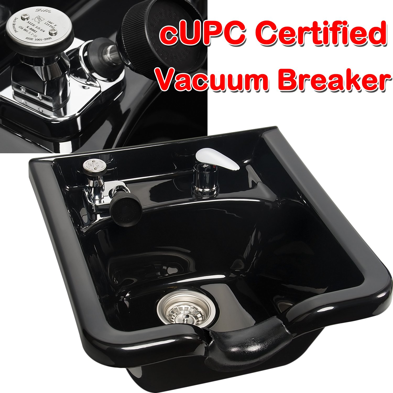 cUPC Vacuum Breaker Shampoo Bowl Hair Sink Stainless Drainage Neck Rest Hair Trap Included