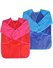 NEWSTYLE Children's Art Smock - Long Sleeve Waterproof Kids Painting Apron for School Classroom and Kitchen, 2 Pieces Blue & Red