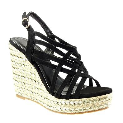 Angkorly Damen Schuhe Sandalen Espadrilles   Plateauschuhe   String Tanga   Multi Zaum Keilabsatz High Heel 11.5 cm