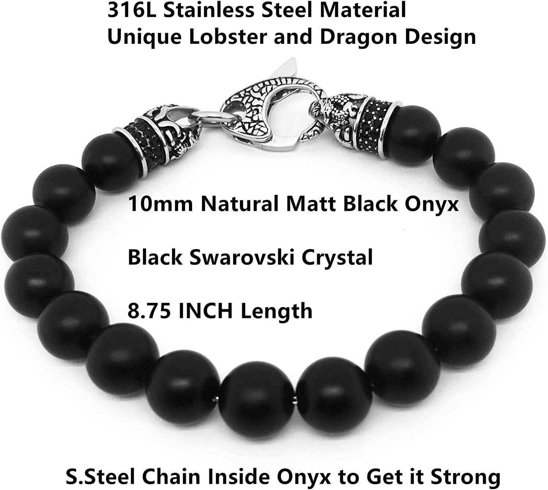 Starmond Mens Genuine Gemstone Bead Bracelet Stainless Steel Dragon Design Detailed Lobster with Black CZ Stones